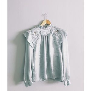Victorian Cloud Satin High Collar Blouse